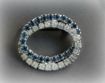 Vintage Blue and Clear Rhinestone IntertwinedOvals Pin Brooch , Wedding Pin Jewelry Bridal