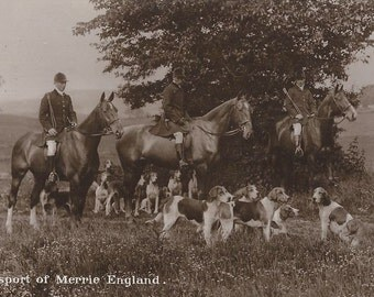 As England Does - Antique 1910s Foxhunt Riders, Horses and Hounds Real Photo Postcard