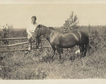 In the Quiet - Vintage 1920s Young Man and Horse Silver Gelatin Print Photograph