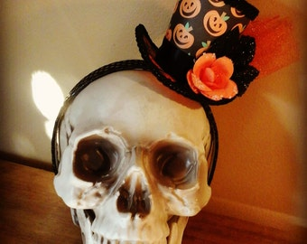 Orange pumpkin  mini top hat fascinater costume accessorie