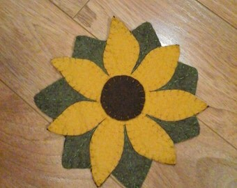 Yellow flower sunflower penny rug candle mat display piece hand made