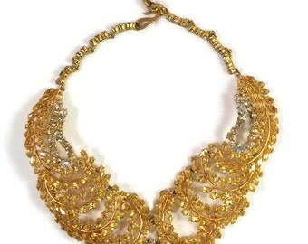 Rare Early Vintage Christian Dior Open-Back Citrine Leaf Collar Necklace