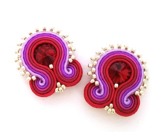 Clip on earrings - soutache earrings - birthday gift for girlfriend - Gift for mom - Gift for wife - mothers day gift - wholesale jewelry