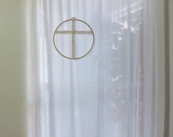 Christian Cross Window Hanging Wall Hanging Holiday Decoration Embroidery Hoop Vintage Flour Sack Cross