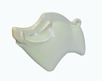 Japanese Pottery. Sculpture of a Boar. Modern. Ceramic. Porcelain. Jade Green. Vintage Japanese. Pig.