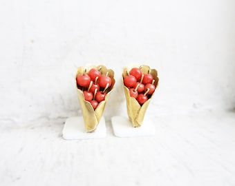 Vintage 10K Gold Coral Bouquet Earrings from the Philippines