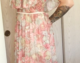 1970s romantic floral summer dress long Sz medium sexy off the shoulder top#1970sdress#70sfashion#happydays#romantic