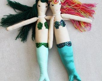 SALE Mermaid Ragdolls: Handmade from Vintage and Recycled Materials, Cloth Doll, Cloth handmade dolls,Children, Sea, Mermaid, Beach