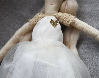 Athena Ragdoll: Handmade from Vintage and Recycled Materials, Cloth Doll,Ballerina doll, Blonde Doll
