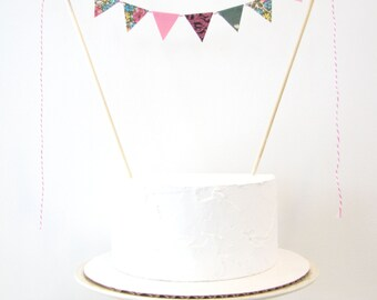 """Floral Cake Topper - Fabric Cake Bunting, Wedding, Birthday Party, Shower Decoration - """"Garden Club"""" floral pink black damask green nature"""