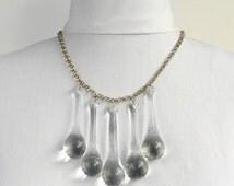 Chandelier Droplet Necklace, re-purposed chandelier crystals jewellery, unique.