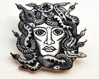 Medusa Head Brooch, Mythology badge