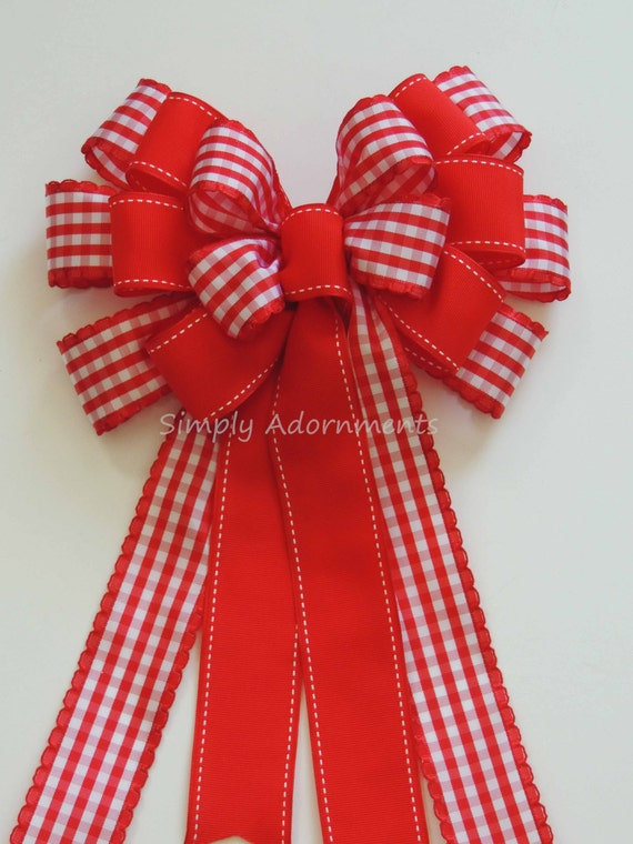 Red White Check Bow Country Gingham Wreath Bow Red Gingham Wedding Pew Bow Red Check Door Hanger Bow Valentine Gift Wrapping Bow