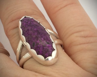 Sugilite and Sterling Silver Ring with and Scalloped Bezel Handmade Size 7