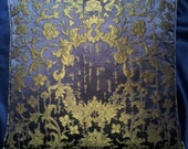 Blue Purple and Gold Silk Jacquard Rubelli Fabric Throw Pillow Cushion Cover Les Indes Galantes Pattern - Handmade in Italy