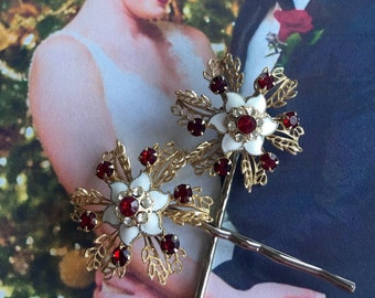 Decorative Hair Pins Jewelry 1940 1950's Red Snowflake Bobby Pins Christmas Bridal Winter Wedding