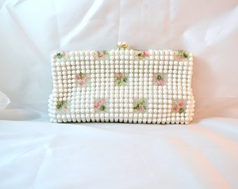 1950s Vintage Grandee Bead White and Clear Beaded Handbag