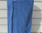 vintage 1990's linen denim blue wrap around straight skirt size 10 Jones of New York