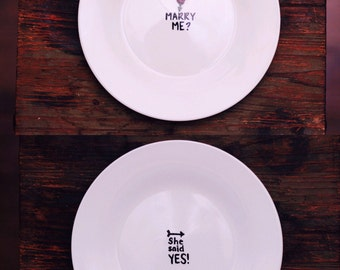 Proposal Idea, Marry Me Plate Set, 2 Hand Painted Plates, Custom Made Engagement Idea