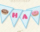 Doughnut Banner Happy Birthday Printable Bunting donut digital Instant Download blue pdf party flag stripes gingham sweet bake shoppe shop