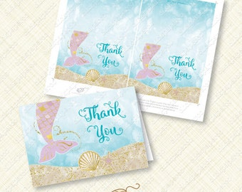 Purple Mermaid Thank You Card printable instant download pdf folded gold tail sea shell under the sea ocean watercolor thanks greeting diy