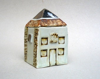 Square House , Silver Brown And Cream House, Ceramic Sculpture , Townhouse