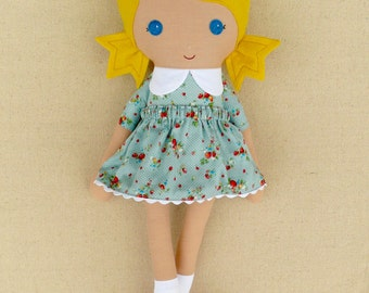 Fabric Doll Rag Doll Blond Haired Girl in Blue Calico Dress and Red Shoes