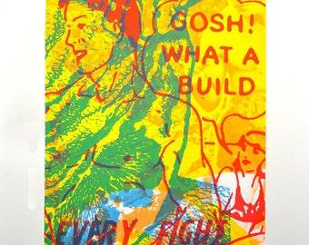 Gosh What A Build, silkscreen art print, 26 x 35.75 inches