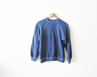 SALE Raglan Sweatshirt / Heather Blue Crewneck Sweatshirt / 70s Clothing / Zip Up