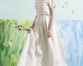 2016 new cocktail dress in white, bridal wedding dress, boho wedding dress, white dress, prom dress, layered linen dress, floor length, maxi
