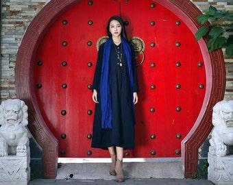 Linen Winter Dress in Black / Long Pleated Dress Gown / Trenchcoat Dress Coat Dress Long Dress / maxi linen dress with pockets - Custom