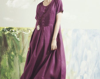 purple maxi dress, purple bridesmaid dress, maxi linen dress, boho wedding dress, maxi linen dress in purple, linen summer dress,prom dress