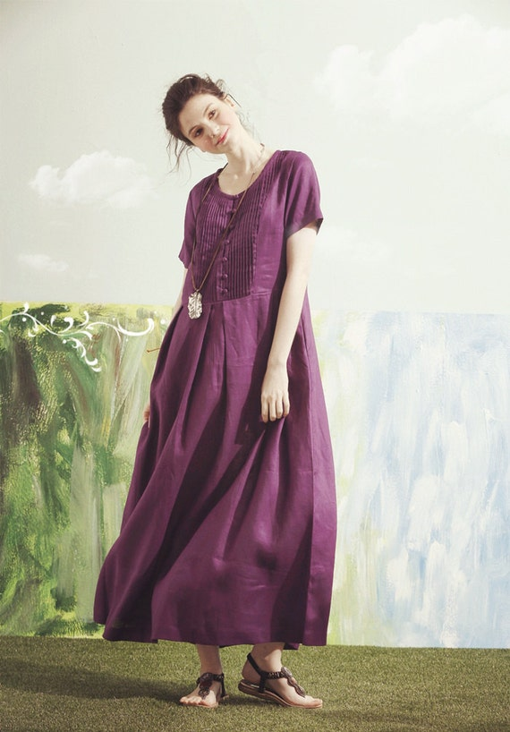 Purple maxi dress purple bridesmaid dress maxi linen dress for Purple maxi dresses for weddings