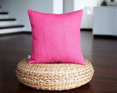 Rose pink pillow cover - natural linen rose pink decorative pillows - pink cushion case - pink pillow case - linen pink cushion 16x16 inch