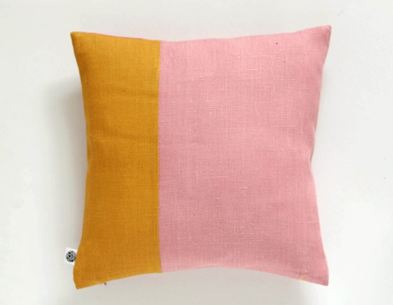 Throw pillow with color block design dusty pink by pillowlink