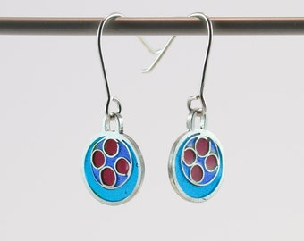 Silver plique a jour enamel, stained glass earrings, blue and red