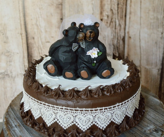 brown bear wedding cake toppers black wedding cake topper country weddings and 12190