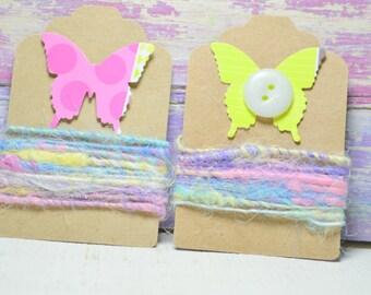 1 yd Vegan Fiber - Handspun - Flax - Cotton - Soy Silk - Handdyed- Macrame - Embroidery-Jewelry Making- Cord- Craft Supplies -HOP