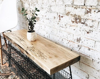 Rustic Industrial Spalted Maple Bench with Hairpin Legs