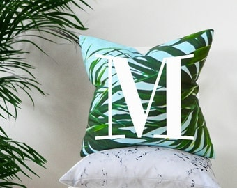 Kuta palm leaf monogram alphabet cushion cover