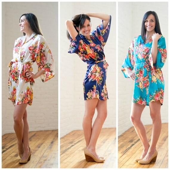 Satin Floral Robes
