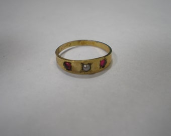 Antique Vintage 10 Kt Gold Ostby and Barton Pearl Garnet Baby Band Ring sz 1