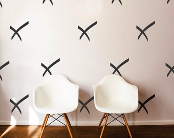 Simple X Pattern -Wall Art Vinyl Minimalistic Decal Dorm Decor Pattern for Living Rooms, Kitchens, Nurseries, Bedrooms, Dorms, Offices