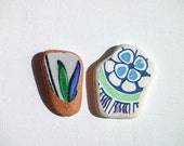 Patterned sea pottery,Pendant sized beach pottery,Floral/Ornamental pattern,Green and blue beach pottery