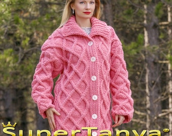 Made to order wool cardigan in pink, long handmade cable sweater coat by SuperTanya