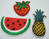 Set of 3pcs Fruit Patches - Iron on Patch or Sewing Patch Summer Fruit Patch Watermelon Patch Strawberry Patch and Pineapple Patch