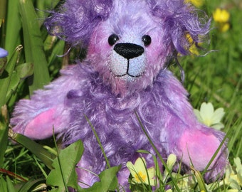 Bunty is a beautifully coloured, cute and gentle, one of a kind, artist bear made from gorgeous hand dyed mohair by Barbara-Ann Bears