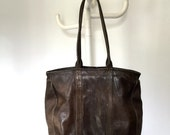 vintage brown leather tote 70s distressed leather bag beat up leather bag dark brown leather carry all travel bag preppy work tote bag