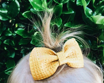 "Baby/Girls Genuine Leather Bow- Mustard Leather Hair Bow // Headband OR Hair Clip ""Maye"""