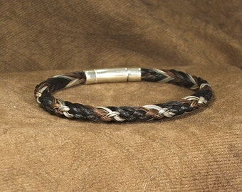 Men's or Women's Half-round Braid Braided Horsehair Bracelet with Sterling Silver Lever-back Push Clasp
